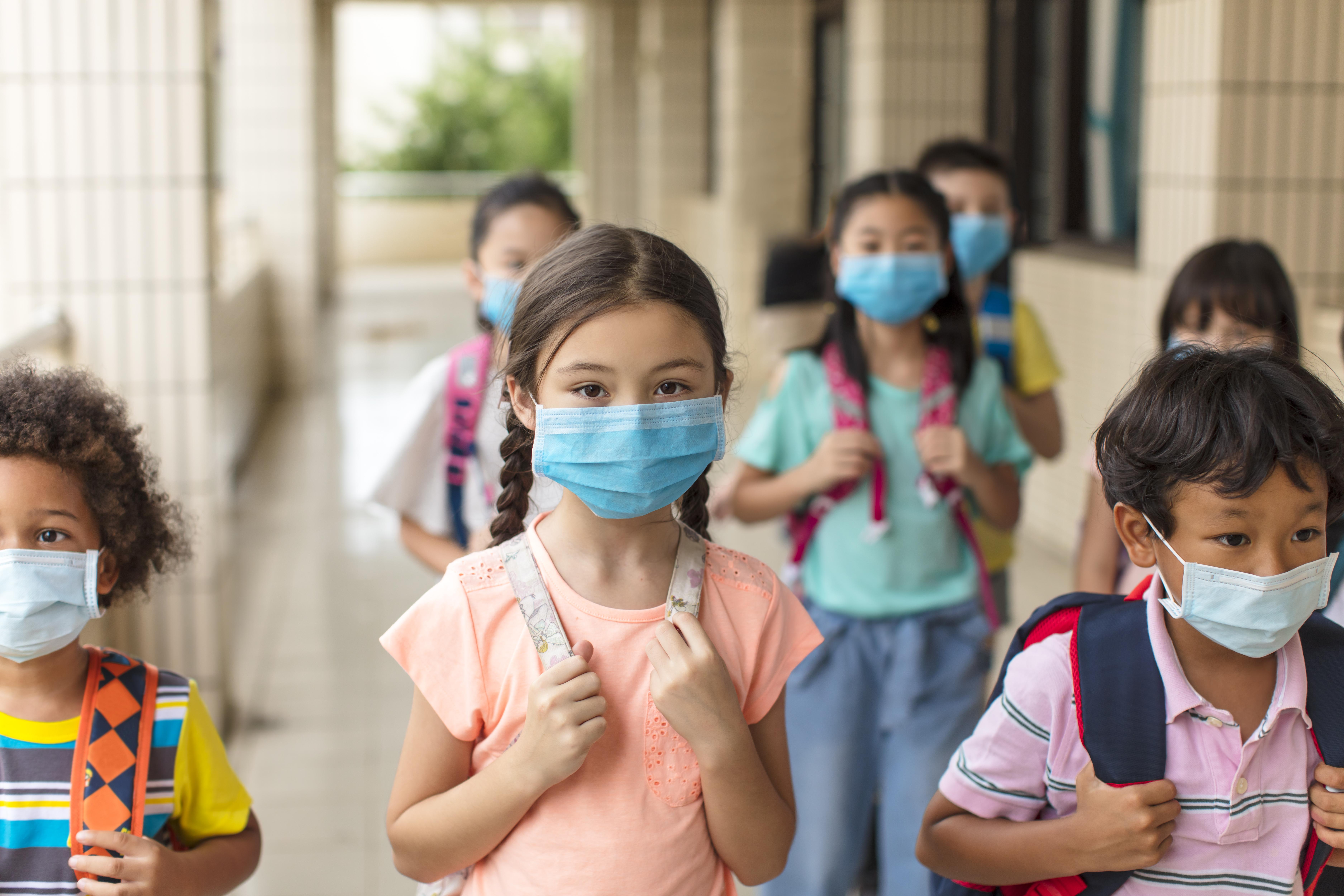 Covid19: Kinder, die mit Maske zur Schule gehen.
